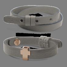 Pack bracelet GOSPEL en or rose 750 millièmes et cuir galet de la collection de bijoux pour enfants MIKADO.