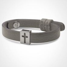 HALLELUJAH bracelet in 925 sterling silver and grey leather strap by MIKADO jewellery collection for kids.