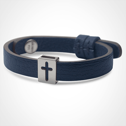 HALLELUJAH bracelet in 925 sterling silver and blue leather strap by MIKADO jewellery collection for kids.