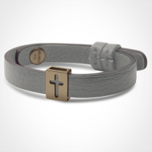 HALLELUJAH bracelet in 750 yellow gold and grey leather strap by MIKADO jewellery collection for kids.