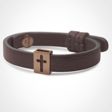 HALLELUJAH bracelet in 750 pink gold and chocolate leather strap by MIKADO jewellery collection for kids.