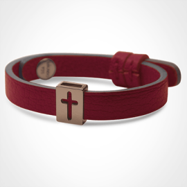 HALLELUJAH bracelet in 750 pink gold and cherry leather strap by MIKADO jewellery collection for kids.
