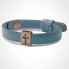 HALLELUJAH bracelet in 750 pink gold and sky blue leather strap by MIKADO jewellery collection for kids.
