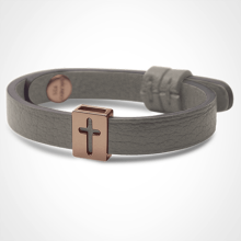 HALLELUJAH bracelet in 750 pink gold and grey leather strap by MIKADO jewellery collection for kids.