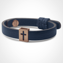 HALLELUJAH bracelet in 750 pink gold and blue leather strap by MIKADO jewellery collection for kids.
