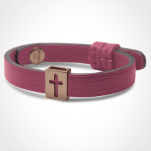 HALLELUJAH bracelet in 750 pink gold and pink leather strap by MIKADO jewellery collection for kids.