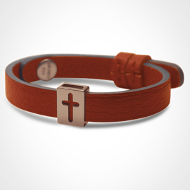 HALLELUJAH bracelet in 750 pink gold and mandarina leather strap by MIKADO jewellery collection for kids.