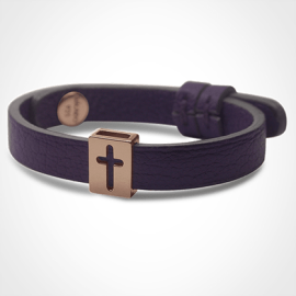 HALLELUJAH bracelet in 750 pink gold and purple leather strap by MIKADO jewellery collection for kids.