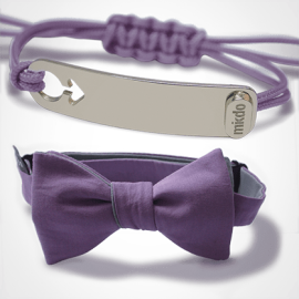Pack I am a boy bracelet in silver and lavander bow tie from MIKADO.