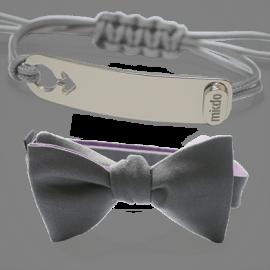 Pack bracelet I am a boy en argent et nœud papillon gris de MIKADO