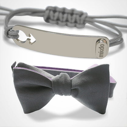 Pack I am a boy bracelet in silver and grey bow tie from MIKADO.