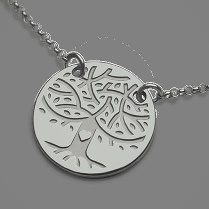 Collar LOVETREE árbol de la vida en oro blanco 750 milésimas y cadena de la colección de joyas infantiles MIKADO.