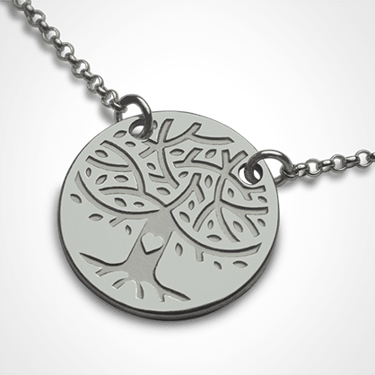LOVETREE tree of life chain pendant in 750 white gold by the jewellery collection for children MIKADO.