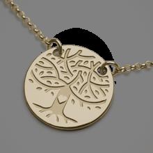 Colgante de la cadena del árbol de la vida en oro amarillo 750 de la colección de joyas para niños MIKADO.