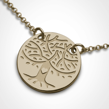 LOVETREE tree of life chain pendant in 750 yellow gold by the jewellery collection for children MIKADO.