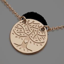 Collar LOVETREE árbol de la vida en oro rosa 750 milésimas y cadena de la colección de joyas infantiles MIKADO.