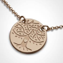 LOVETREE tree of life chain pendant in 750 pink gold by the jewellery collection for children MIKADO.