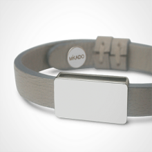 HIP HOP bracelet in 925 sterling silver and grey leather strap by MIKADO jewellery collection for kids.