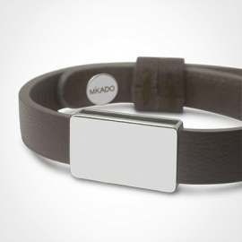 HIP HOP bracelet in 750 white gold and chocolate leather strap by MIKADO jewellery collection for kids.