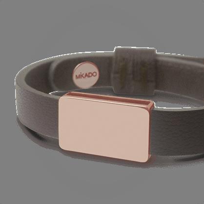 Bracelet HIP HOP en or rose 750 millièmes et cuir chocolat de la collection de bijoux pour enfants MIKADO.