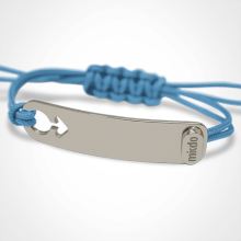 I AM A BOY identity bracelet in 925 silver and sky blue chord by the jewellery collection for children MIKADO.