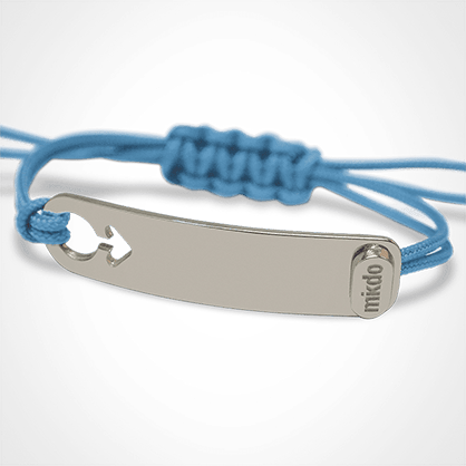 I AM A BOY identity bracelet in 750 white gold and sky blue chord by the jewellery collection for children MIKADO.