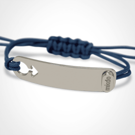 I AM A BOY identity bracelet in 750 white gold and ocean blue chord by the jewellery collection for children MIKADO.