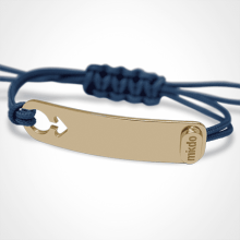 I AM A BOY identity bracelet in 750 yellow gold and ocean blue chord by the jewellery collection for children MIKADO.