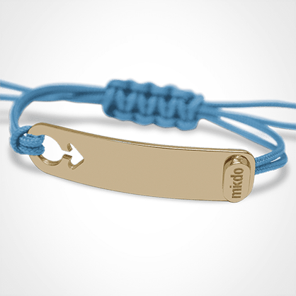 I AM A BOY identity bracelet in 750 yellow gold and sky blue chord by the jewellery collection for children MIKADO.