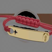 Bracelet I AM A GIRL en or jaune 750 millièmes et cordon cerise de la collection de bijoux pour enfants MIKADO.