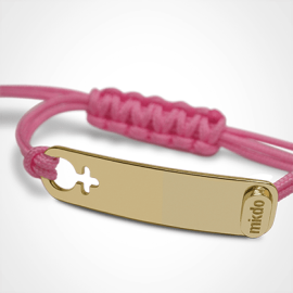 I AM A GIRL identity bracelet in 750 yellow gold and pink chord by MIKADO the jewellery collection for children.