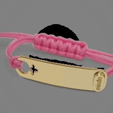 Pulsera I AM A GIRL en oro amarillo 750 milésimas y cordón rosa de la colección de joyería infantil MIKADO.