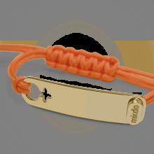 Bracelet I AM A GIRL en or jaune 750 millièmes et cordon mandarine de la collection de bijoux pour enfants MIKADO.