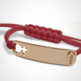 Bracelet I AM A GIRL en or rose 750 millièmes et cordon cerise de la collection de bijoux pour enfants MIKADO.