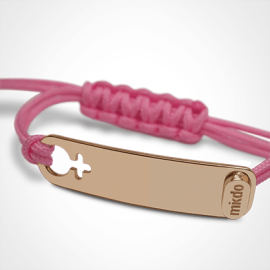 I AM A GIRL identity bracelet in 750 pink gold and pink chord by MIKADO the jewellery collection for children.