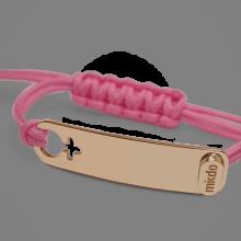 Pulsera I AM A GIRL en oro rosa 750 milésimas y cordón rosa de la colección de joyería infantil MIKADO.