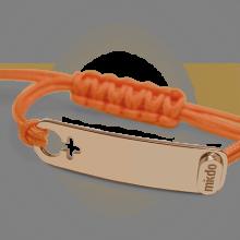 Bracelet I AM A GIRL en or rose 750 millièmes et cordon mandarine de la collection de bijoux pour enfants MIKADO.