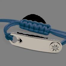 Bracelet I AM A STAR BOY en argent 925 millièmes, diamant et cordon océan de la collection de bijoux pour enfants MIKADO.