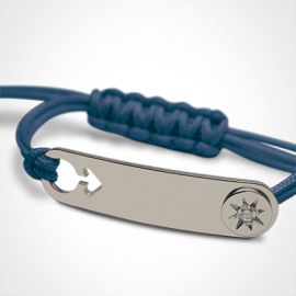 I AM A STAR BOY identity bracelet in 750 white gold, diamond and blue cord by MIKADO the jewellery collection for children.