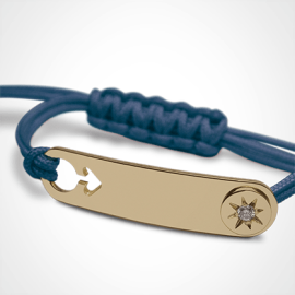 I AM A STAR BOY identity bracelet in 750 yellow gold, diamond and blue chord by MIKADO the jewellery collection for children.