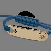 Bracelet I AM A STAR BOY en or jaune 750 millièmes, diamant et cordon océan de la collection de bijoux pour enfants MIKADO.