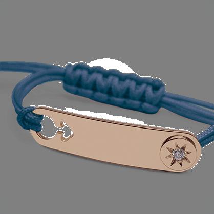 Bracelet I AM A STAR BOY en or rose 750 millièmes, diamant et cordon océan de la collection de bijoux pour enfants MIKADO.