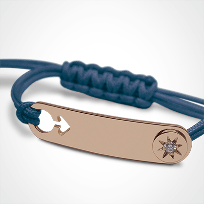 I AM A STAR BOY identity bracelet in 750 pink gold, diamond and blue chord by MIKADO the jewellery collection for children.