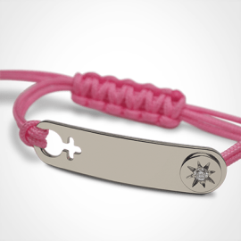Bracelet I AM A STAR GIRL en argent 925 millièmes, diamant et cordon rose de la collection de bijoux pour enfants MIKADO.