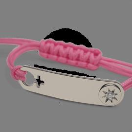Pulsera I AM A STAR GIRL en oro blanco 750 milésimas, diamantes y cordón rosa de la colección de joyería infantil MIKADO.
