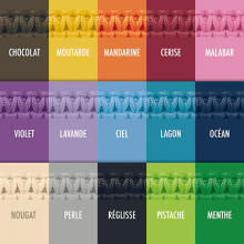 Carta de colores de los 15 colores de cordones impermeables de la colección de joyería infantil de MIKADO.