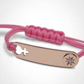 I AM A STAR GIRL identity bracelet in 750 yellow gold, diamond and pink chord by MIKADO the jewellery collection for children.