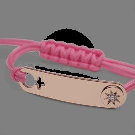 Pulsera I AM A STAR GIRL en oro rosa 750 milésimas, diamantes y cordón rosa de la colección de joyería infantil MIKADO.