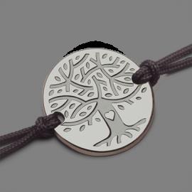 Pulsera árbol de la vida LOVETREE en oro blanco 750 milésimas y cordón de la colección de joyas infantiles MIKADO.