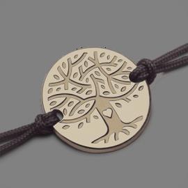Bracelet arbre de vie LOVETREE en or jaune 750 millièmes et cordon de la collection de bijoux pour enfants MIKADO.